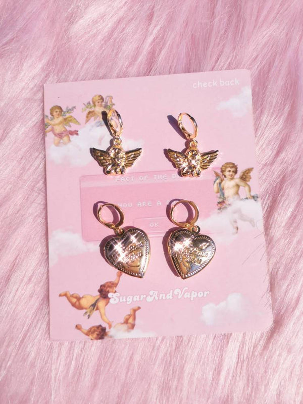Retro Cherub & Heart Earrings 4 Pcs Set-EARRINGS-SugarAndVapor