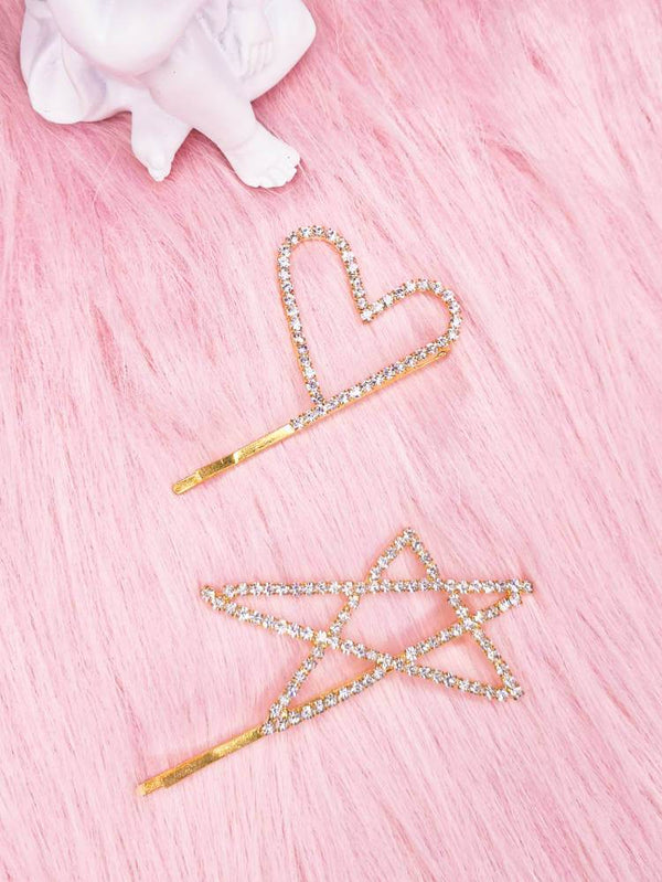 Rhinestone Heart Star Gold Hair Pin-Hair Accessories-SugarAndVapor
