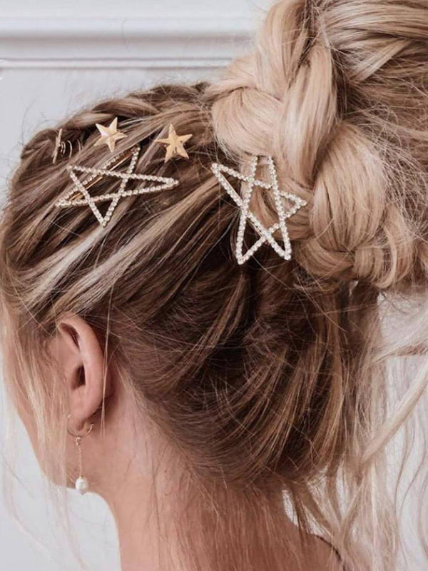 Rhinestone Heart Star Gold Hair Pins-Hair Accessories-SugarAndVapor