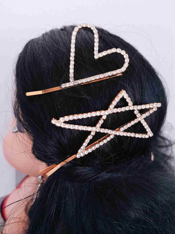 Rhinestone Heart Star Gold Hairpins Set-Hair Accessories-SugarAndVapor