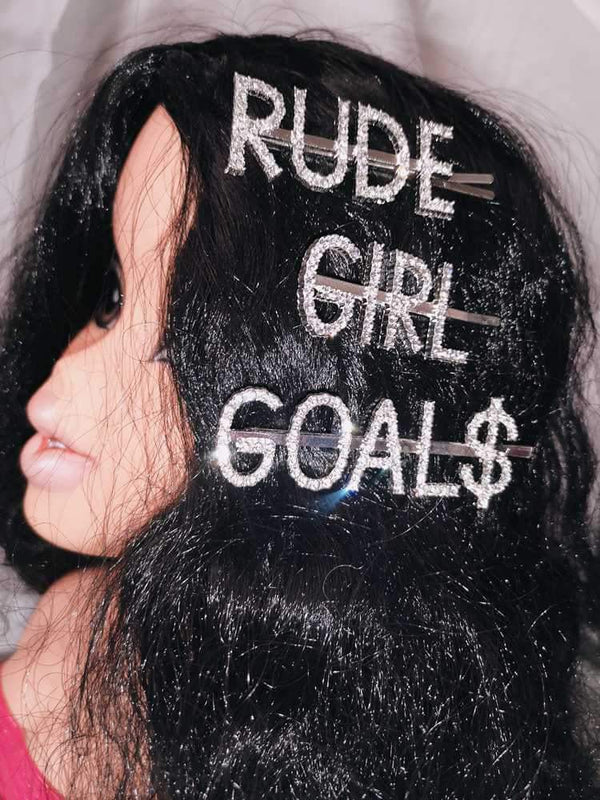 RUDE GIRL GOAL$ Rhinestone Hairpin Set-Hair Accessories-SugarAndVapor