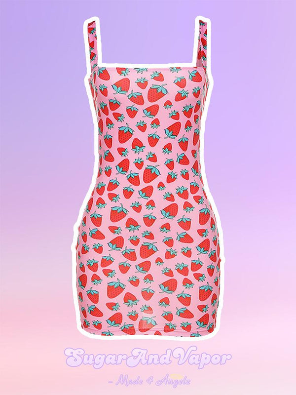 RUTH Strawberry Pattern Dress-DRESSES-SugarAndVapor