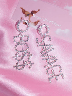 SAVAGE BO$$ Asymmetrical Rhinestones Earrings-EARRINGS-SugarAndVapor