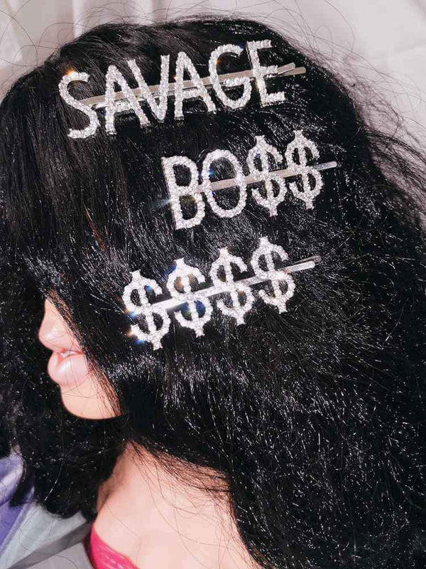 SAVAGE BO$$ Rhinestone Letters Hairpins Set-Hair Accessories-SugarAndVapor