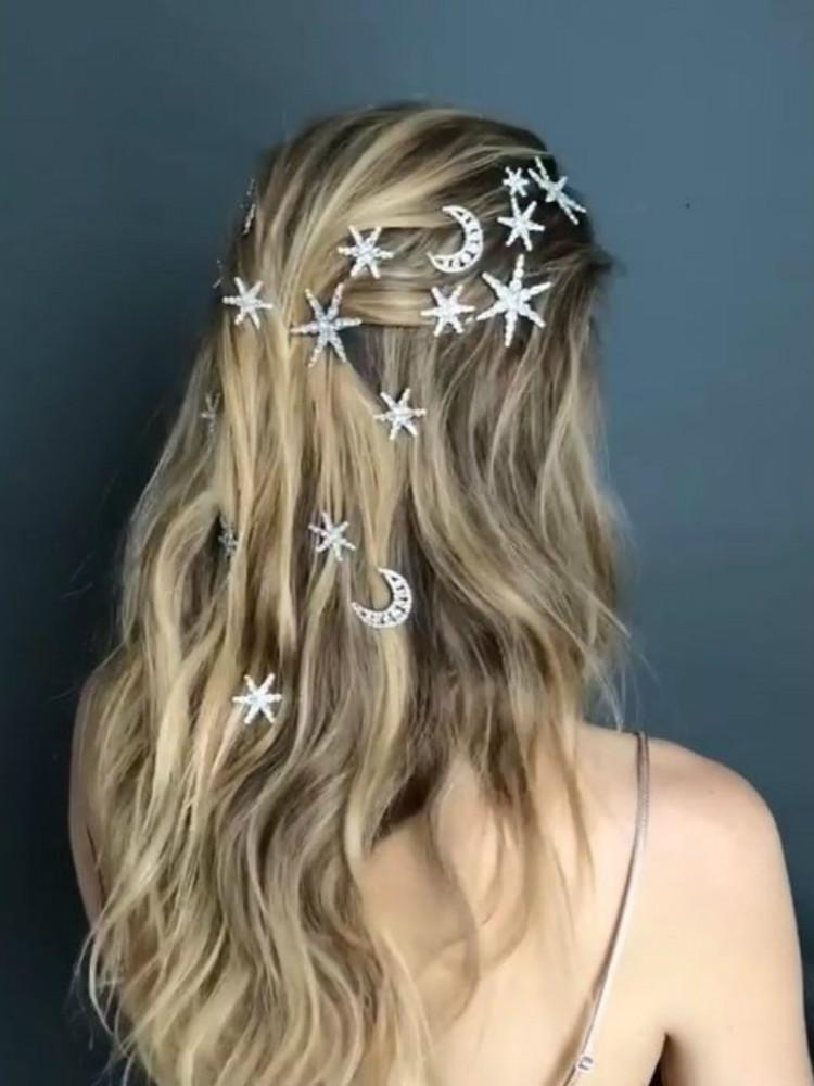 Sparkly Moon Stars Rhinestone Hair Pins-Hair Accessories-SugarAndVapor
