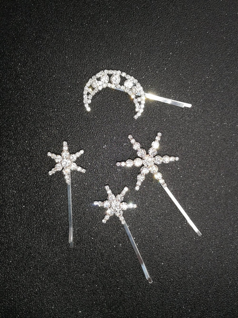 Sparkly Moon Stars Rhinestone Hairpins-Hair Accessories-SugarAndVapor