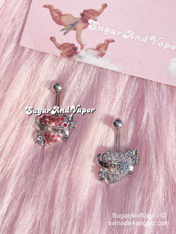 Vintage Love Heart Rhinestones Belly Button Ring-Belly Ring-SugarAndVapor