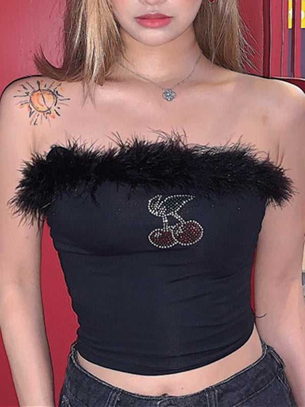 Y2K Bling Cherry Furry Strapless Crop Top-TOPS-SugarAndVapor