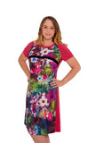 Piccadilly Tropical Paradise Breastfeeding Dress - Lipstick Pink
