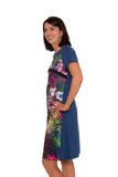 Piccadilly Tropical Paradise Breastfeeding Dress - Diesel Blue