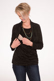 Kensington Mock Wrap Nursing Top long sleeve - Liquoice