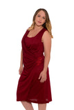 Selene Mock Wrap Breastfeeding Dress - Red Shimmer