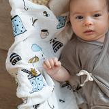 Organic Cotton/Bamboo fiber Extra Large Swaddles - Rainy Day Feelings