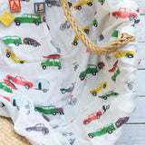 Organic Cotton/Bamboo fiber Extra Large Swaddles - Cars and Campers