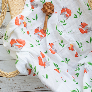 Organic Cotton/Bamboo fiber Extra Large Swaddles - Foxes