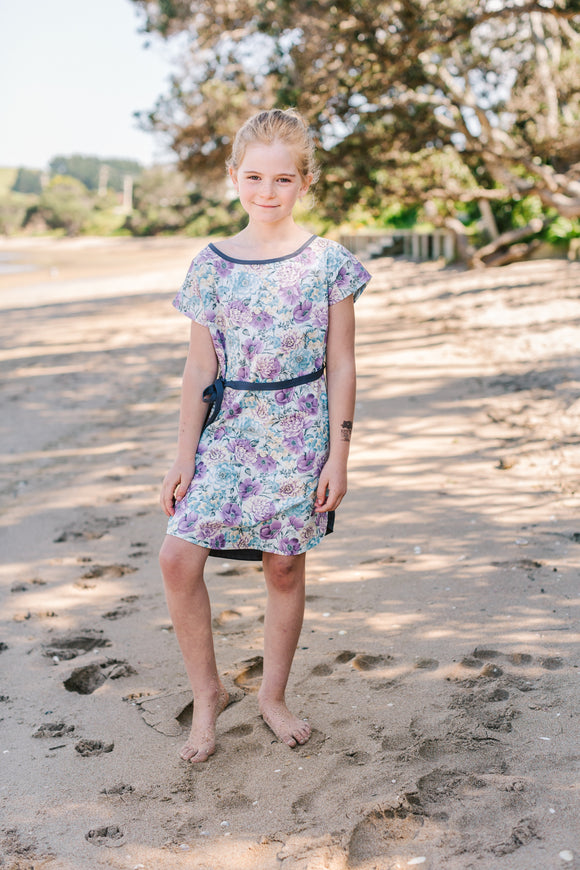 Freya Shift Dress with tie - Blooms in purple and blue