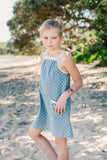 Georgie Dress Natural Spot on Blue
