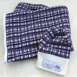 Merino Hat and Swaddle Set Purple Check