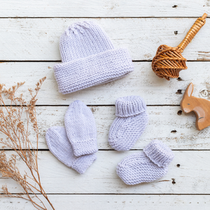 Hand Knitted hat, booties and mittens set Merino Wool