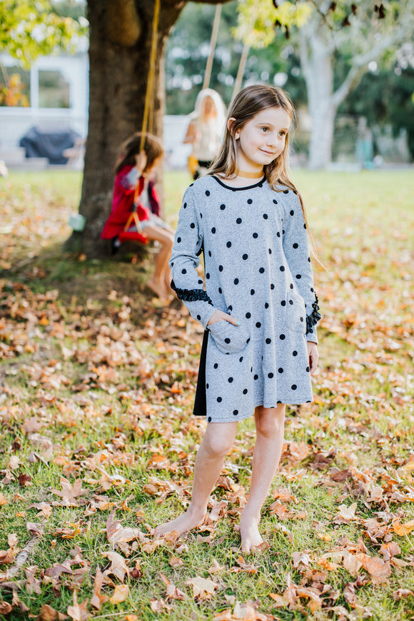 Ava Grey Spot Knit Dress