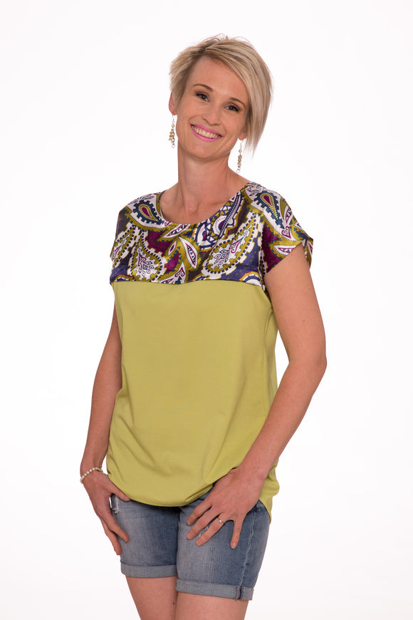 Sandy Bay Loose fit breastfeeding Stylie tee - Paisley and Lime