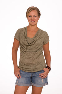 Paisley Cowl neck top - Sand/Green Stripe