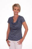 Paisley Cowl neck top - Blue Stripe