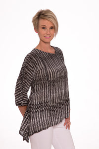 Portree slanted hemline top LS - Black Aztec