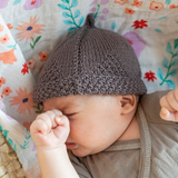Hand Knitted Acorn Hat and Booties Set NZ Merino