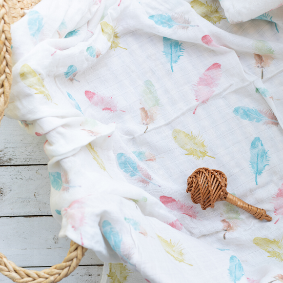 Organic Cotton/Bamboo fiber Extra Large Swaddles - Pastel Feathers