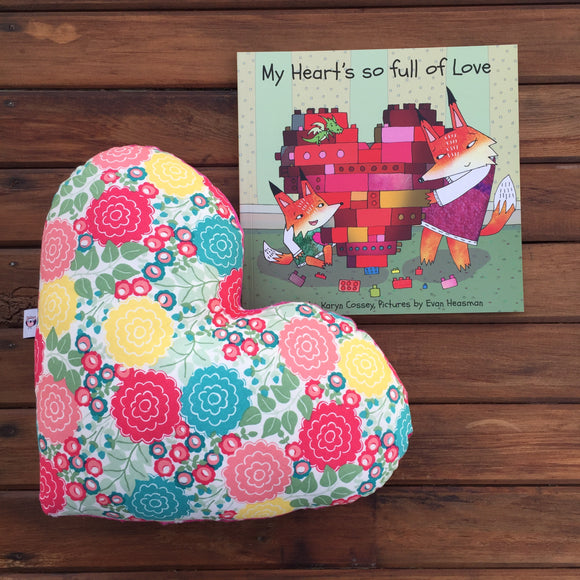 'My heart's so full of love' book and decor pillow