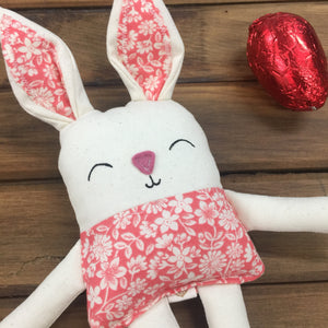 Handmade Bunny with chocolate eggs Coral