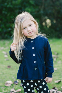 Katelyn Girls Merino Wool Cardigan - Navy