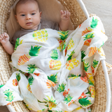 Organic Cotton/Bamboo fiber Extra Large Swaddles - Pineapples