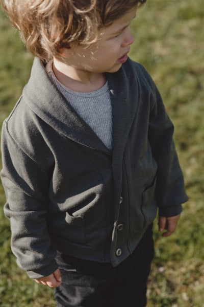 Riley Boys Merino Wool Cardigan - Kalamata Grey