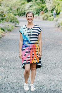 K'otic Tee Dress - Stripes and a Splash of Colour