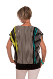 Theia Breastfeeding & Maternity Long Line Top -Black and Bright Stripe