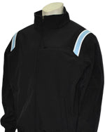 Major League Style Thermal Fleece Jacket - Black w/ White/Powder Blue Trim