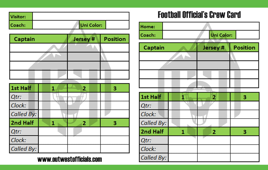 Football Throw Away Game Cards by Out West Officials