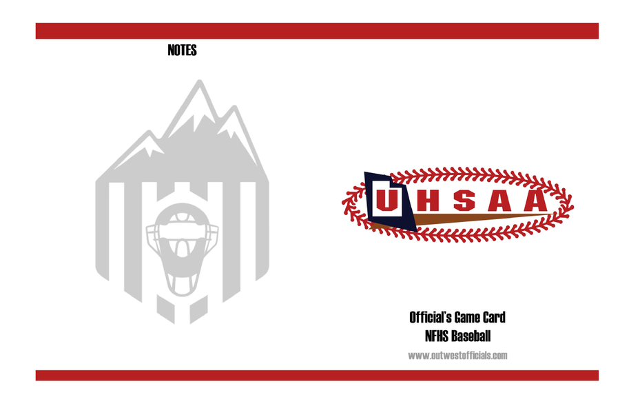UHSAA Baseball Throw Away Game Cards by Out West Officials