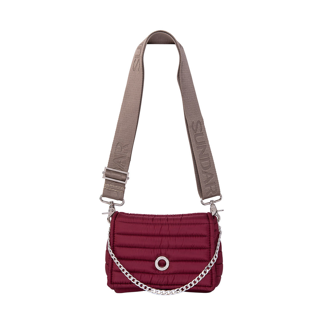 Andrea Cherry with two Straps (Chain Strap/ Beige Adjustable Strap)