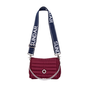Andrea Cherry with two Straps (Chain Strap/ Blue and White Adjustable Strap)