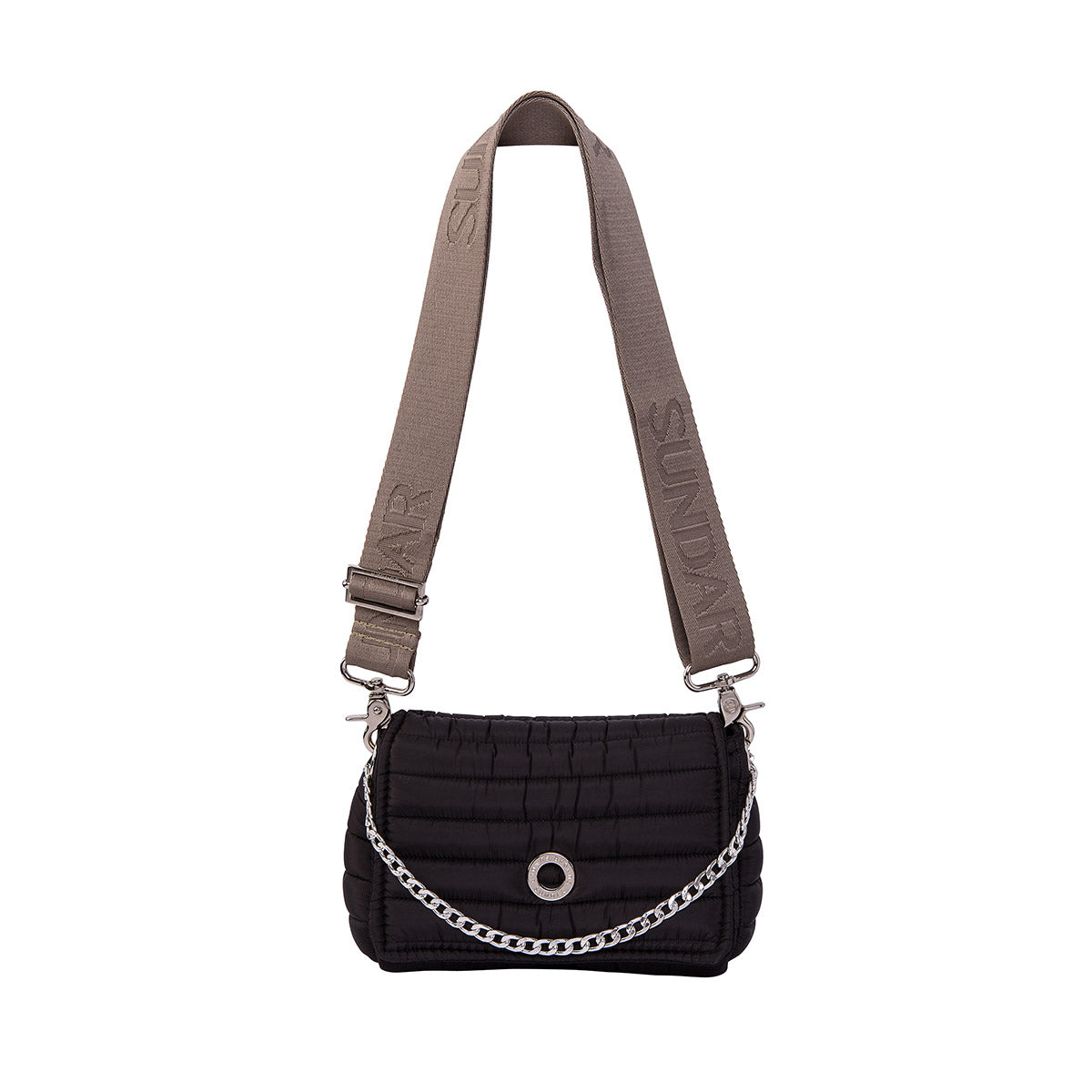 Andrea Black with two Straps (Chain Strap/ Beige Adjustable Strap)