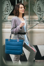 Básica Cobalt Blue, Top Zipper, Shoulder Bag with Silver Strap