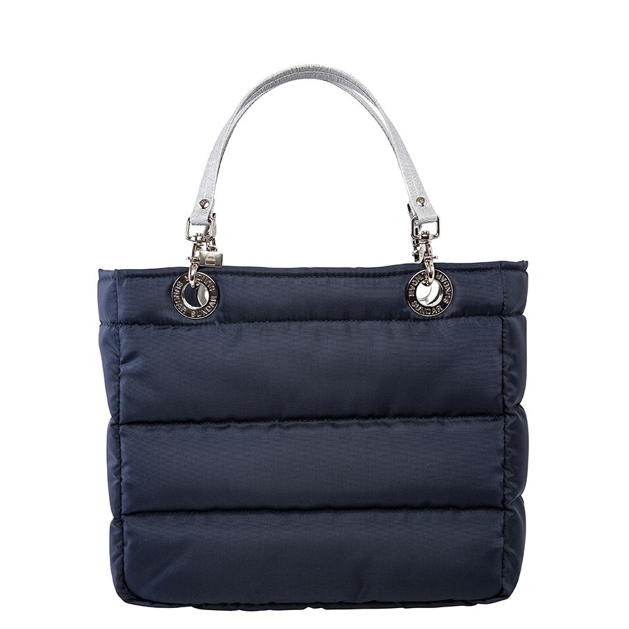 Básica Blue Navy, Top Zipper, Shoulder Bag with Silver Strap