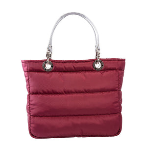 Básica Cherry, Top Zipper, Shoulder Bag with Silver Strap