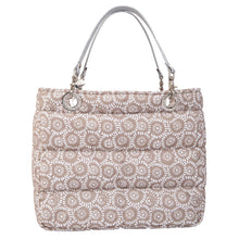 Básica Flowers Pattern (White / Beige), Shoulder Bag with Silver Strap