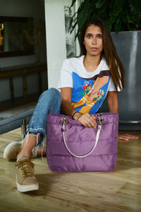 Básica Lavender, Top Zipper, Shoulder Bag with Silver Strap