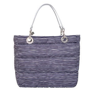 Básica Lines Pattern, Blue / White, Shoulder Bag with Silver Strap