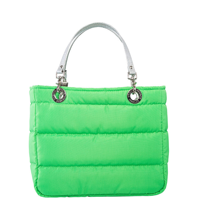 Básica Neon Green, Shoulder Bag with Silver Strap